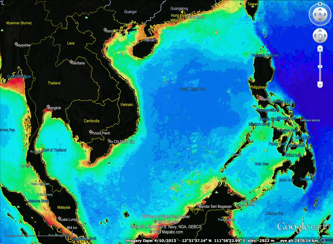 Figure . Chlorophy concentrations in plankton in the South China Sea, overlaid on GoogleEarth. A plume of plankton connects Bajo de Masinloc to the Philippines, indicating its biological linkage at certain times of the year. (Source: NASA)