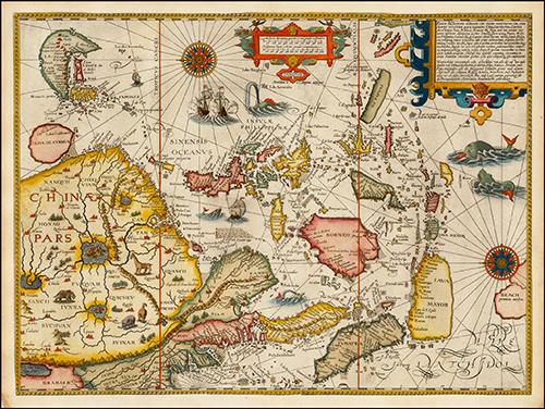 1596 Jan Huygen Van Linschoten: Exacta & Accurata Delineatio cum Orarum Maritimarum tum etjam locorum terrestrium quae in Regionibus China, Cauchinchina, Camboja sive Champa, Syao, Malacca, Arracan & Pegu.