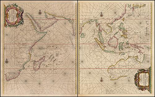 1662 Paskaerte Zynde t'Oosterdeel Van Oost Indien, met alle de Eylanden daer ontrendt geleegen van C. Comorin tota aen Iapan