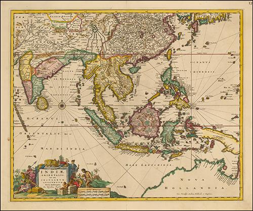 1669 Pas-Pas-caert Van't Westelyckste Deel van Oost Indien En de Eylanden daer onder Begrepen