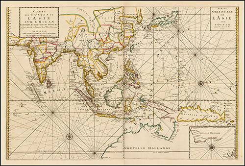 1693 Carte des Costes de L'Asie Sur L'Ocean Contenant les Bancs Isle et Costes &c. (Indian Ocean, Southeast Asia & Western Pacific)