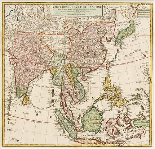 1705 Carte Des Indes et de la Chine Dressee sur plusieurs Rectifees par quelques Observations Par Guillaume De L'Isle de l'Academie Royale des Sciences