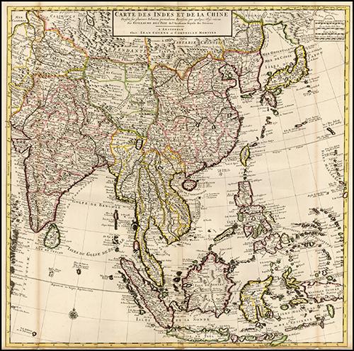 1710 (Australia and Indian Ocean) Carte des Costes de L'Asie sur L'ocean Contenant les Bancs Isles et Costes &c.