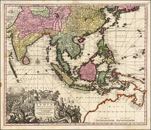 1730 India Orientalis cum Adjacentibus Insulis Nova Delineatione ob oculos posita