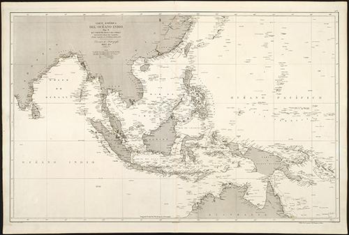 1865 Hidrographia Carta Esferica del Oceano Indio (Zoom Image)