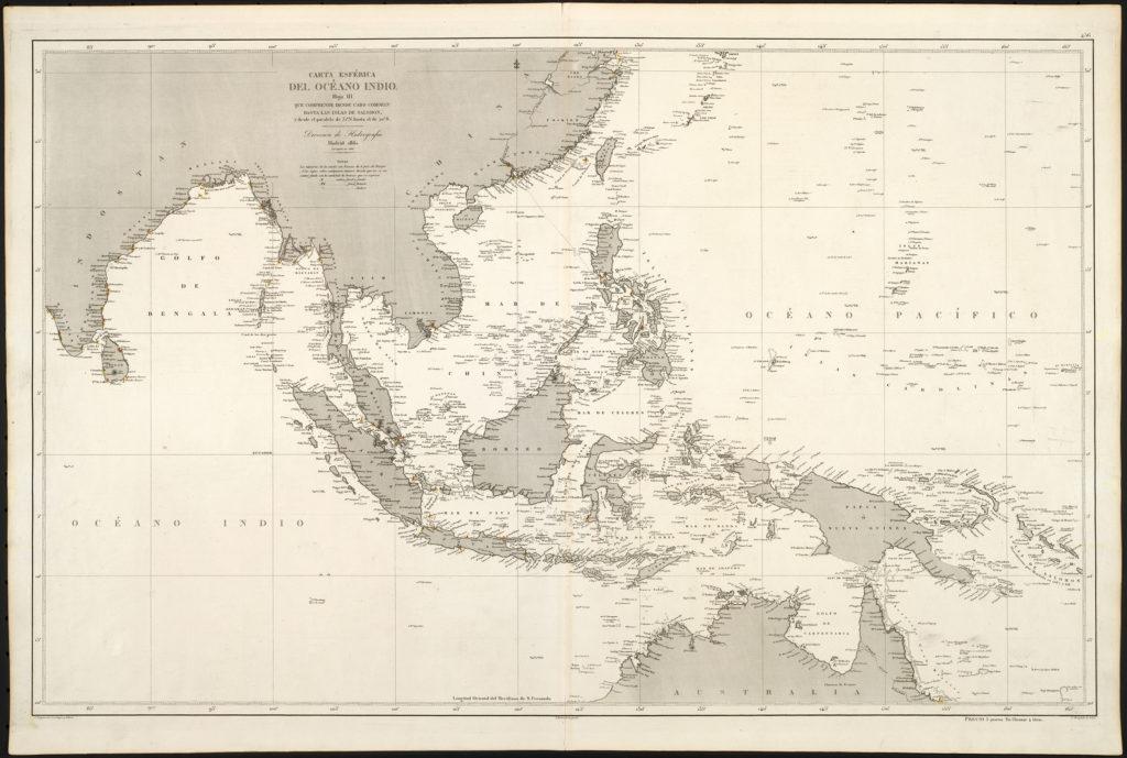 1871 Hidographia Carta General del Oceano Indico