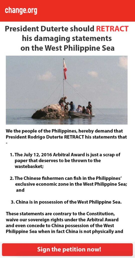President Duterte should RETRACT his damaging statements on the WPS
